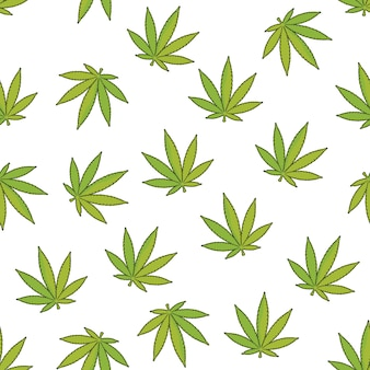 Hennep naadloze patroon achtergrond met marihuanabladeren