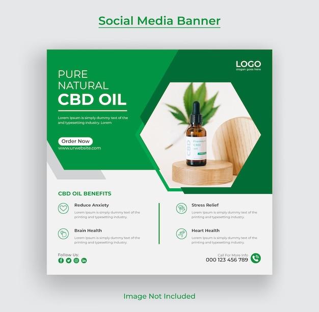 Hennep- of cbd-olie instagram post social media banner en webbanner premium vector