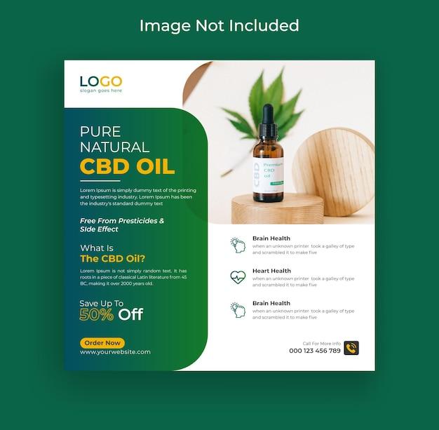 Hennep of cbd olie instagram post social media banner en webbanner premium vector