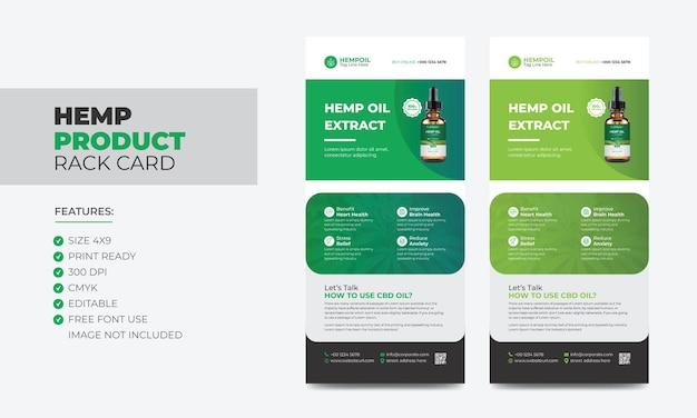 Hennepproduct-rekkaart of dl-flyersjabloon cannabis sativa-productverkooprekkaart cbd dl-flyer