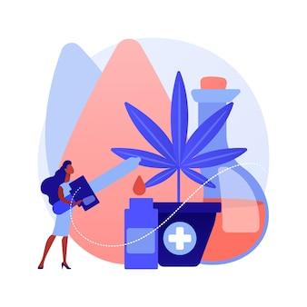 Hennepzaadolie abstract concept vectorillustratie. cbd-oliegebruik, cannabis sativa-plantapotheek, vetzuur, menselijke gezondheid, verlichting van pijn en ontsteking, voedingssupplement abstracte metafoor.