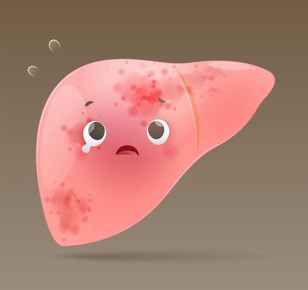 Hepatitis illustratie. cartoon leverziekte