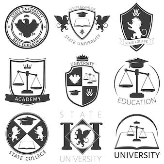 Heraldiek van universiteit zwart witte emblemen