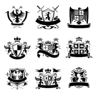 Heraldische emblemen zwart