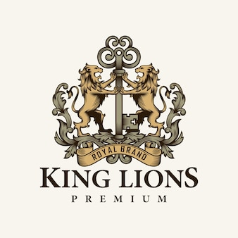 Heraldische leeuw en sleutellogo