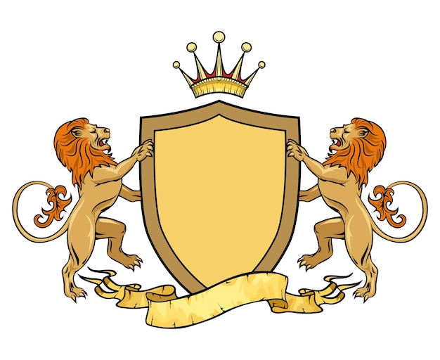 Heraldische leeuwen met schild en lint. wapenschild. heraldiek en kuif, middeleeuws koninklijk logo.