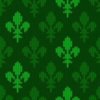 Heraldische lelie op een naadloos vector wollen patroon