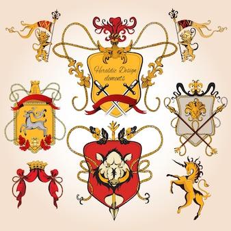 Heraldische ontwerp gekleurde elementen decoratieve retro monogram schets set geïsoleerde vector illustratie