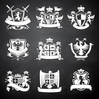 Heraldische schoolbordemblemen