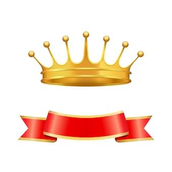 Heraldische symbolen gouden kroon en zijden lint