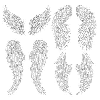 Heraldische vleugels ingesteld voor tattoo-ontwerp.
