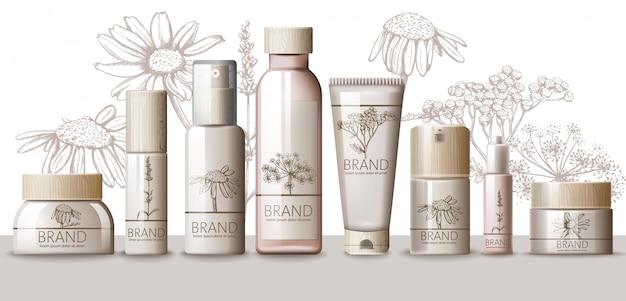 Herbal set van cosmetica met houten dop. thermaal water, serum, crème, lotion, lichaamsmasker, spray, melk, tonicum. plaats voor tekst. productplaatsing