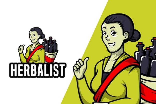 Herbalist - mascotte logo sjabloon