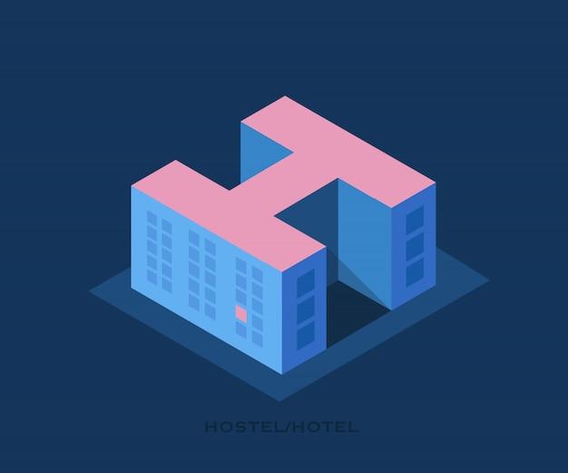 Herberg. gebouw van een hostel of hotel in de vorm van een letter h.