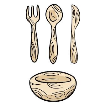 Herbruikbare bamboe kithcenware set doodles.