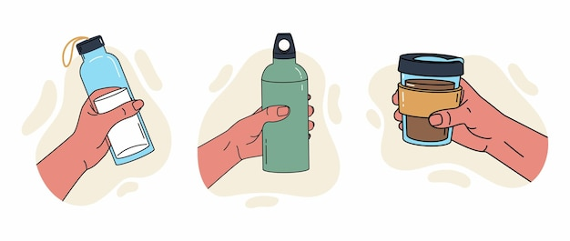 Herbruikbare container voor vloeistoffen verschillende houdingen van de hand met een bidon, een drinkfles voor sportwater
