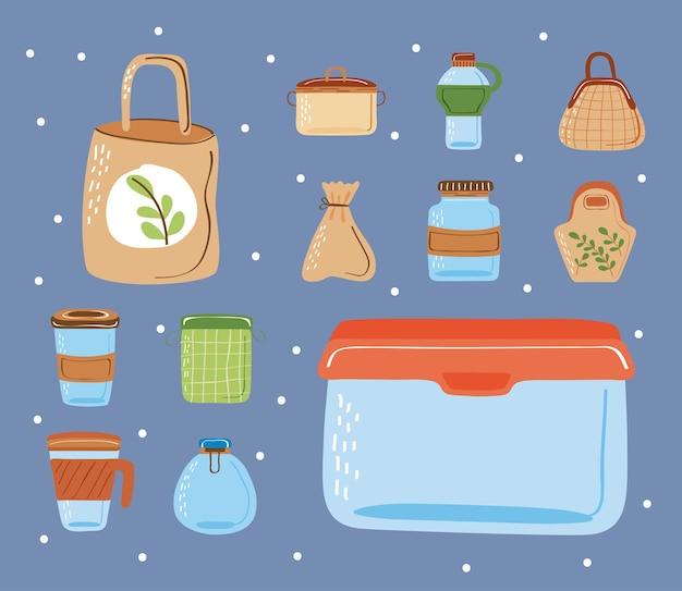 Herbruikbare containers en tassen set