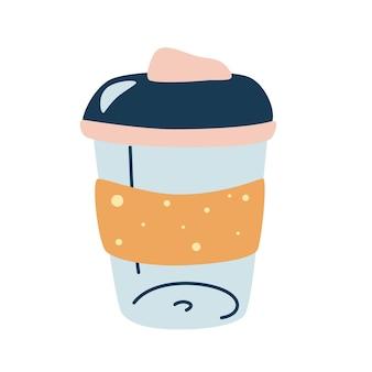 Herbruikbare koffiemok. koffie om mee te nemen. leuke handgetekende thermoskan voor koffie om mee te nemen. leven zonder afval. geïsoleerde vectorobjecten op witte achtergrond.
