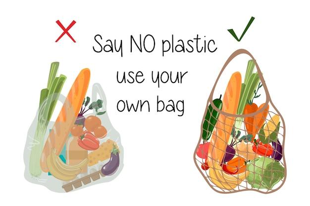 Herbruikbare versus plastic tas boodschappentassen met boodschappen geen afval milieubescherming door het gebruik van natuurlijke milieuvriendelijke materialen zeg niet dat plastic je tas gebruikt vector