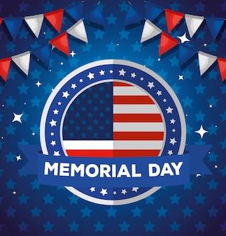 Herdenkingsdag, ter ere van iedereen die diende, met amerikaans label en slingers die illustratie hangen