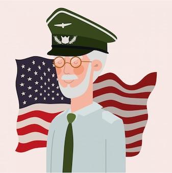 Herdenkingsdagkaart met veteraan en de vsvlag