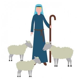 Herder met kudde schapen karakter