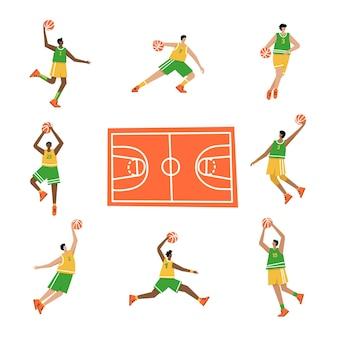 Heren basketbal kampioenschap poster. basketbalspeler die bal naar de hoepel schiet. sportbanner