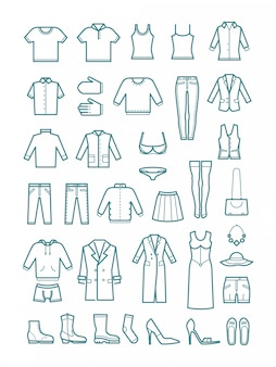 Heren en dames kleding dunne lijn pictogrammen