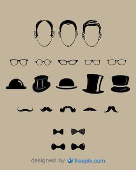 Heren fashion design elementen Gratis Vector