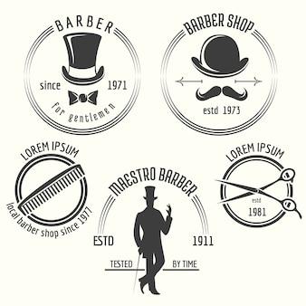 Heren kapper winkeletiketten. gentleman label, badge kapperszaak, gentleman salon, vector illustratie