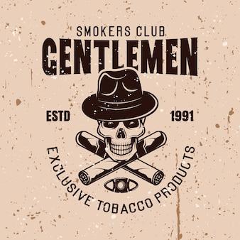 Heren rokers club vector vintage embleem met schedel in hoed en twee gekruiste sigaren