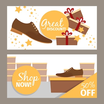 Heren schoenen horizontale banners voor reclame