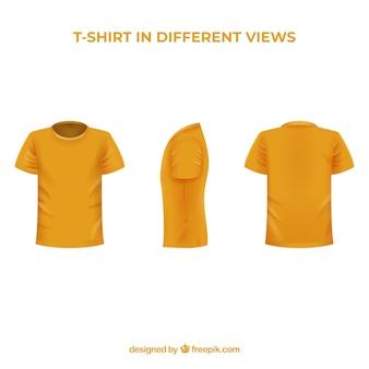 Heren t-shirt in verschillende opvattingen met realistische stijl