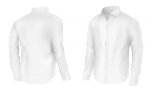 Heren wit shirt met lange mouwen, half omgeslagen