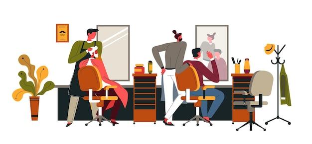 Heren zitten in comfortabele stoelen ontspannen in de kapperszaak. professionele haarstyling. specialisten die kapsels maken en snorren knippen voor klanten. interieur van salon. vector in vlakke stijl