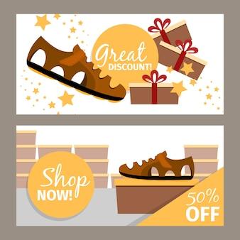 Heren zomer bruine schoenenwinkel banner set