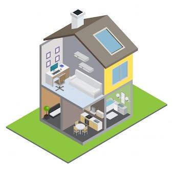 Herenhuis bouwen met herenhuis interieur en isometrische meubels