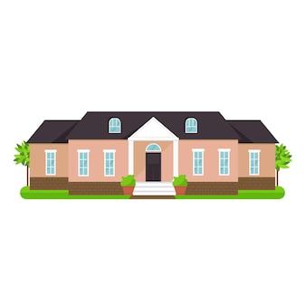 Herenhuis huisje en diverse onroerend goed gebouw pictogrammen platte set geïsoleerde vectorillustratie