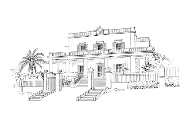 Herenhuis, villa, landgoed. historisch gebouw met bomen en struiken voor het huis.