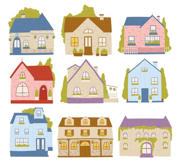 Herenhuizen buurt residentie cartoon gebouwen set schattige kleurrijke huisjes huisjes