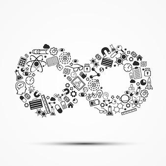 Herenkostuum op reeks bedrijfspictogrammen. vector illustratie