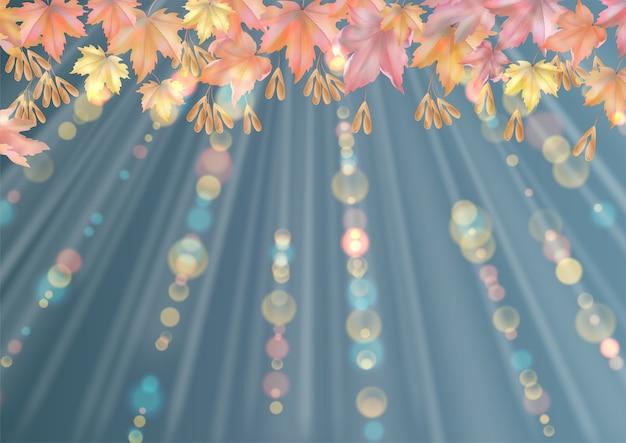 Herfst abstracte achtergrond met vallende esdoorn bladeren verlicht door zonlicht