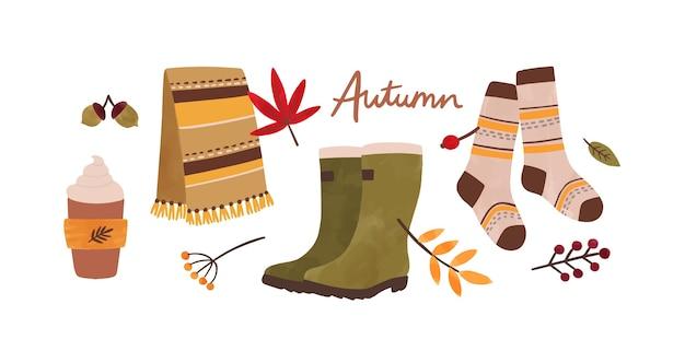 Herfst accessoires hand getekende illustratie.