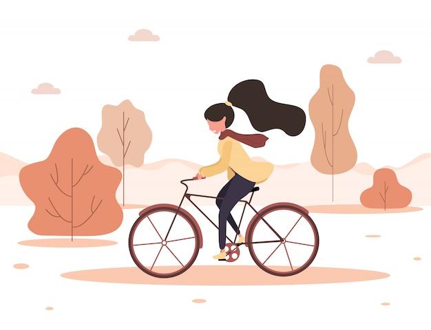 Herfst achtergrond. cartoon jonge vrouw rijden op de fiets in het park. gezonde levensstijl. eco vervoer. moderne illustratie in vlakke stijl.