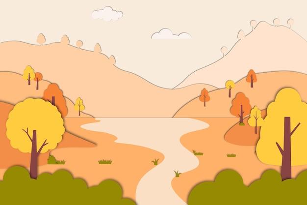 Herfst achtergrond in papier stijl vector illustratie