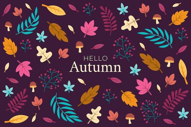 Herfst achtergrond in platte ontwerp