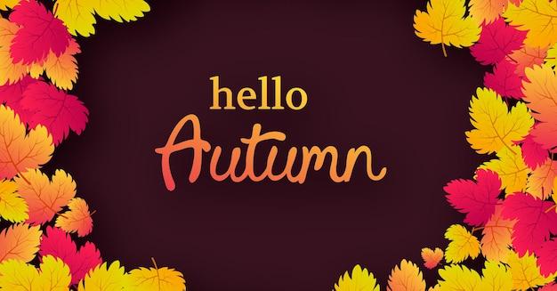 Herfst achtergrond met esdoorn gele bladeren en plaats voor tekst. bannerontwerp voor de banner of de poster van het herfstseizoen. vector illustratie