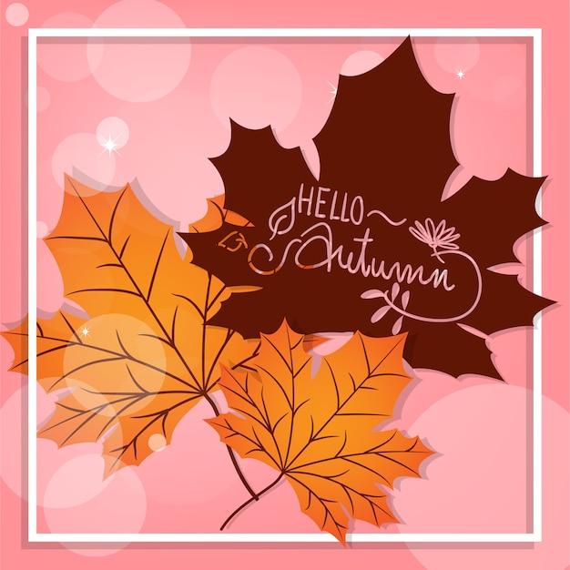 Herfst achtergrond met hallo herfst tekst.