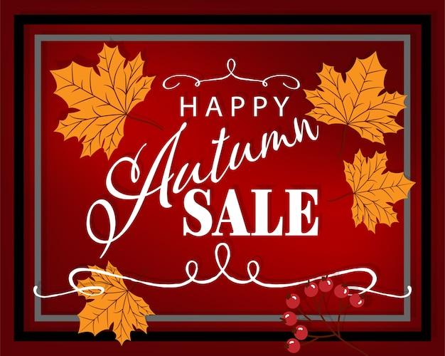 Herfst achtergrond met hallo herfst verkoop tekst.