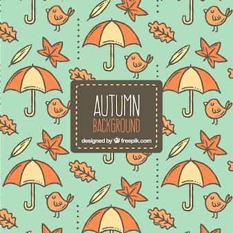 Herfst achtergrond met hand getekend patroon